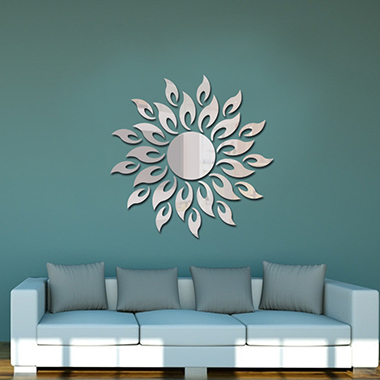 27pcs Acrylic Silver Sunflower Print Mirror Stickers
