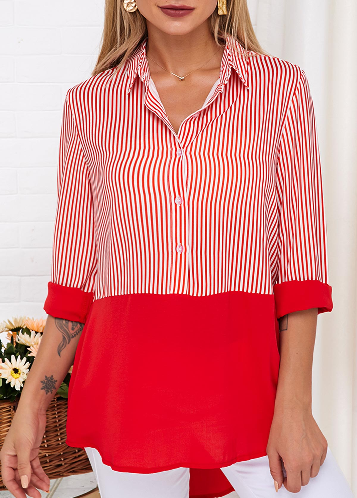 Striped Turndown Collar Button Up Blouse