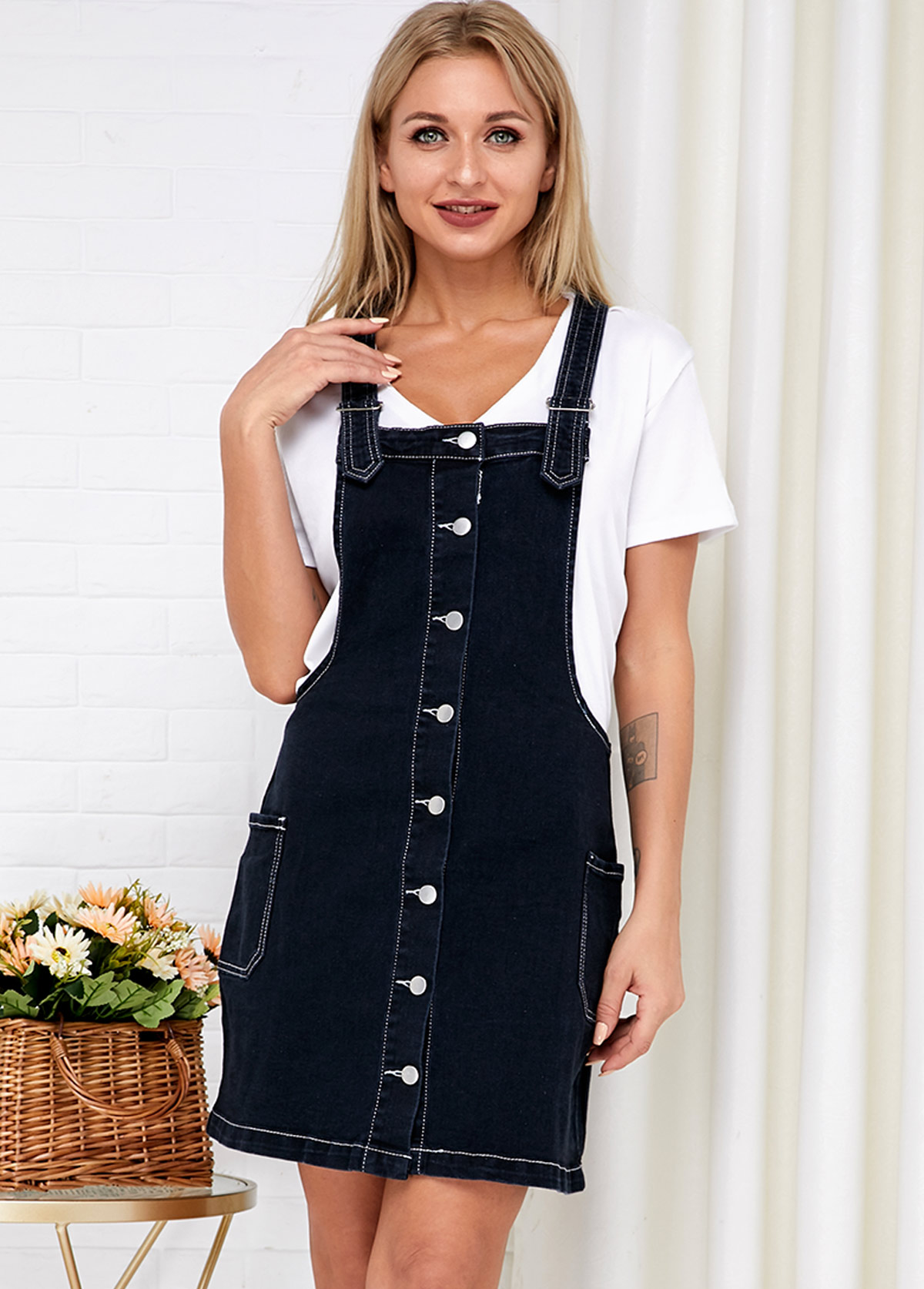 Side Pocket Button Up Spaghetti Strap Denim Dress