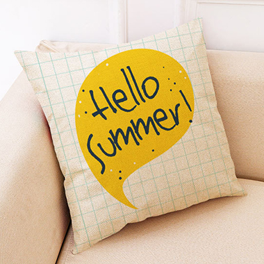 1pc 45 X 45cm Letter Print Yellow Pillow Case
