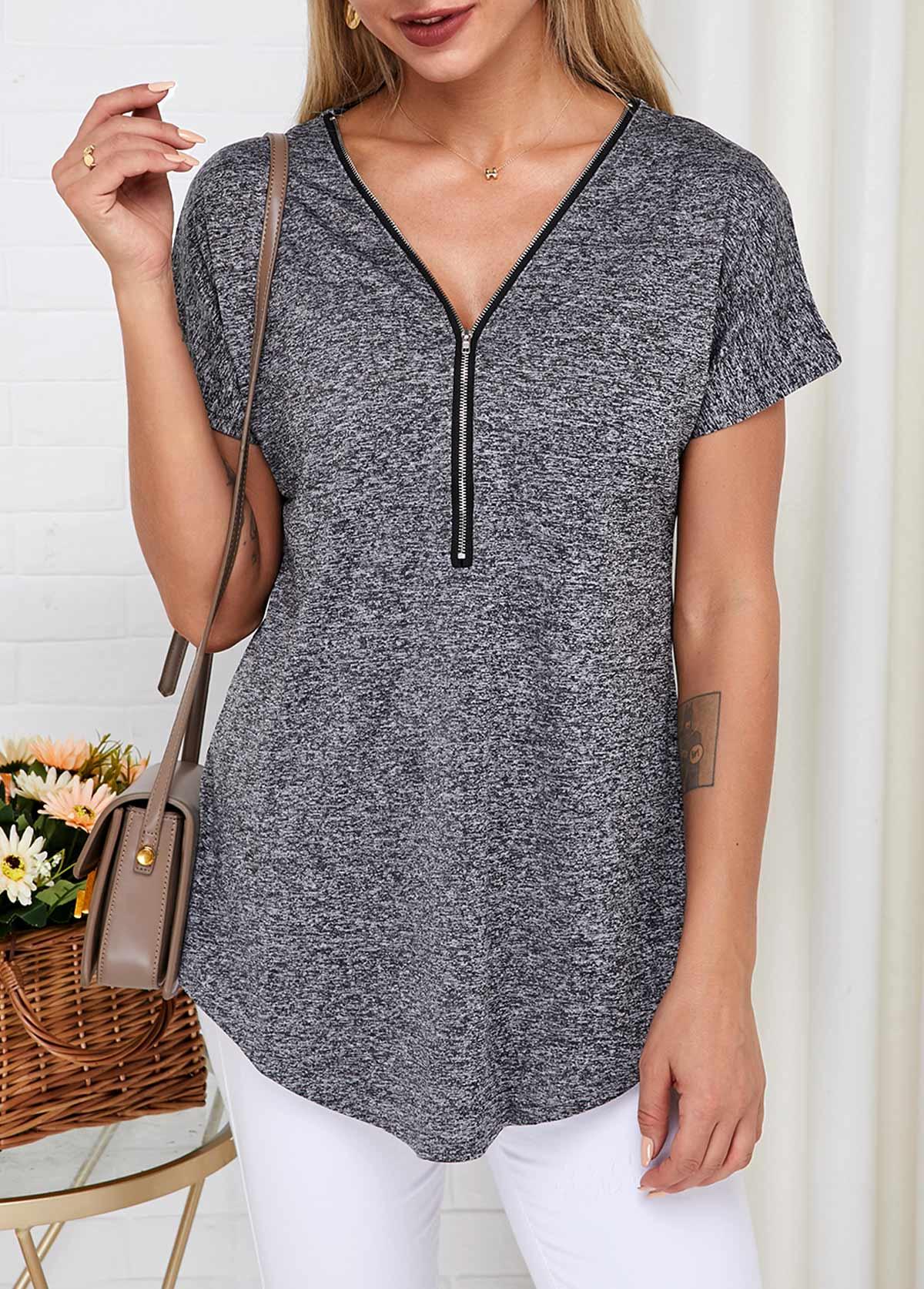 Quarter Zip Short Sleeve V Neck T Shirt