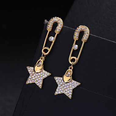 Rhinestone Embellished Star Shape Metal Earring Set