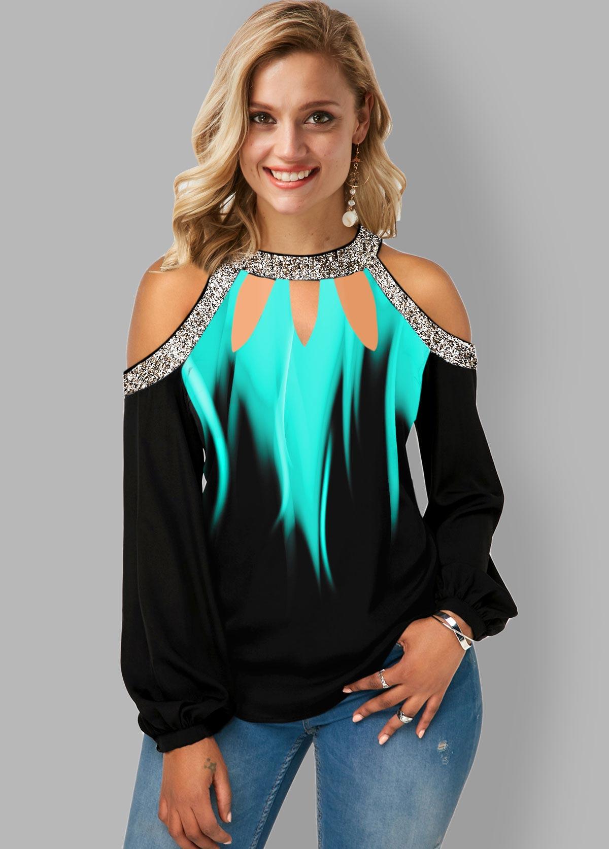ROTITA Sequin Panel Bib Neck Printed Sparkle Blouse