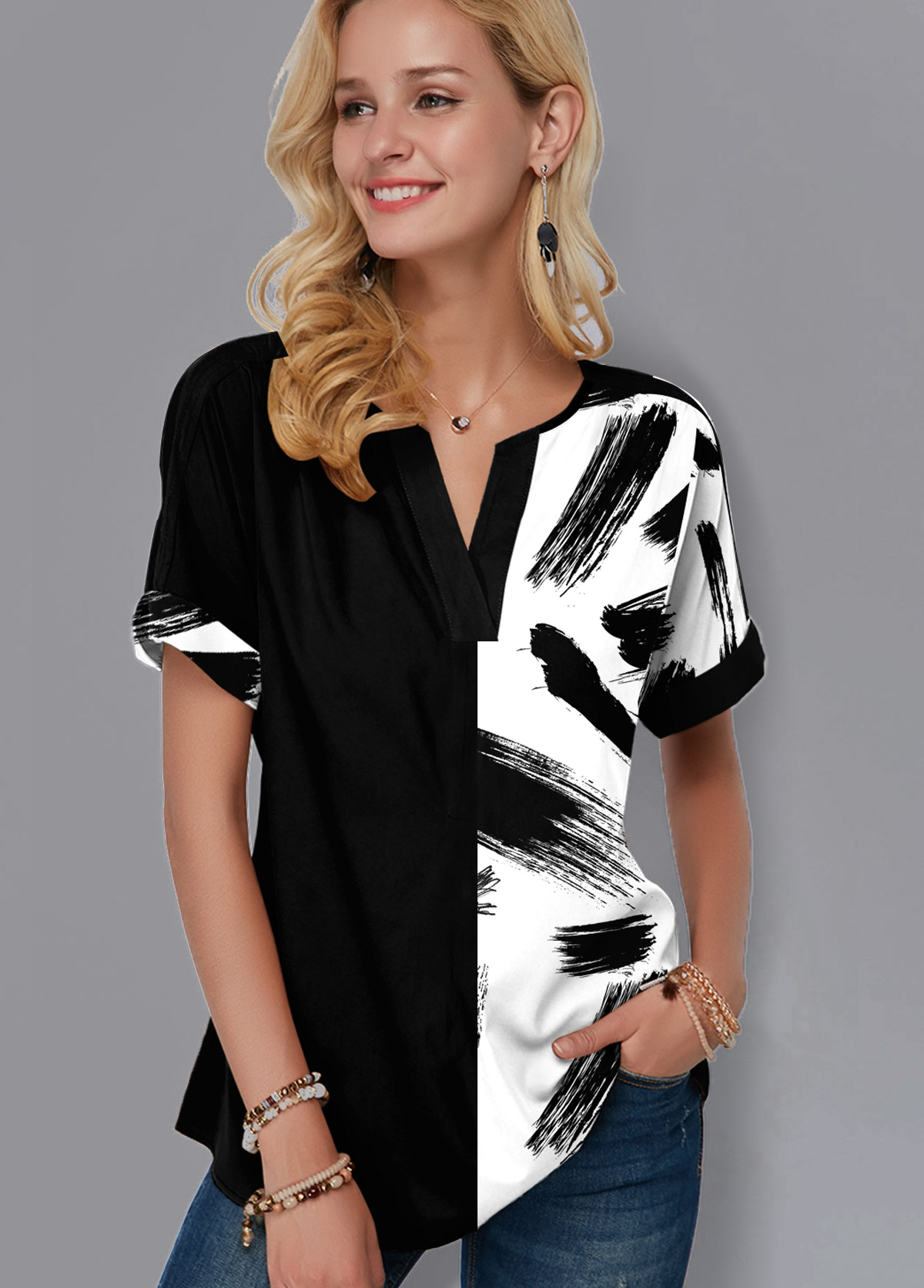 ROTITA Printed Short Sleeve Split Neck Blouse