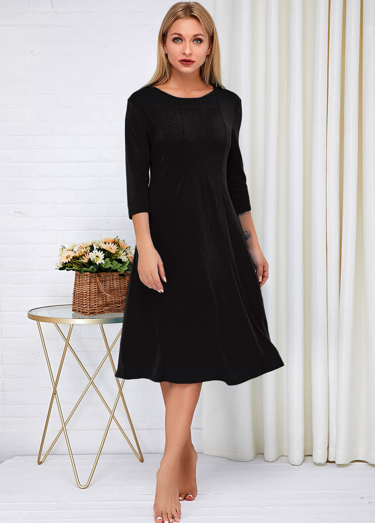 Round Neck Three Quarter Sleeve Dress