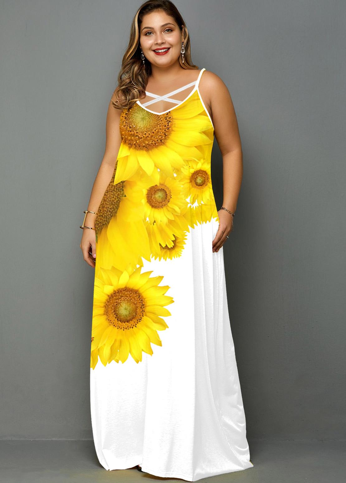 ROTITA Plus Size Spaghetti Strap Sunflower Print Pocket Dress