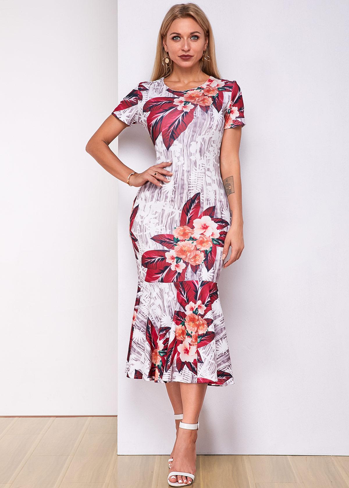 Round Neck Short Sleeve Floral Print Mermaid Dress