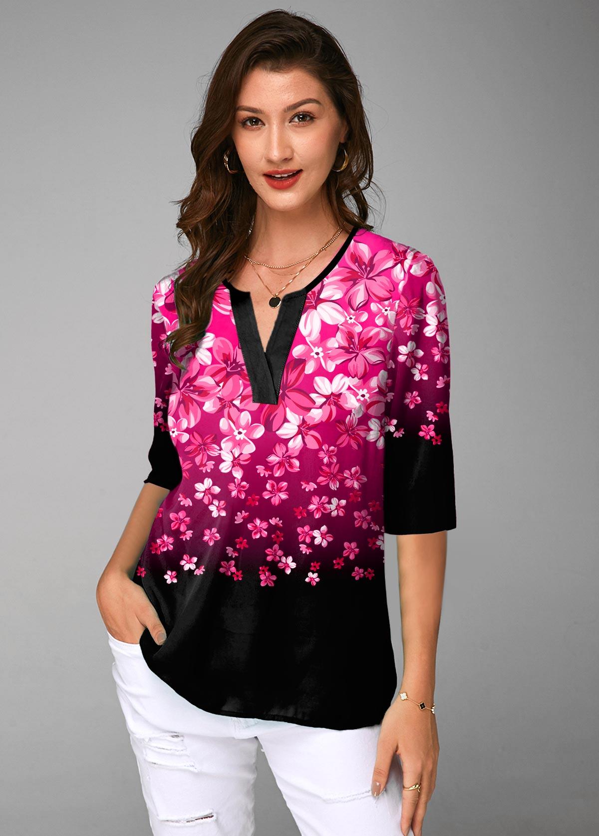 ROTITA Gradient Split Neck Floral Print Half Sleeve Blouse