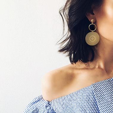 Gold Metal Circle Design Tribal Earring Set