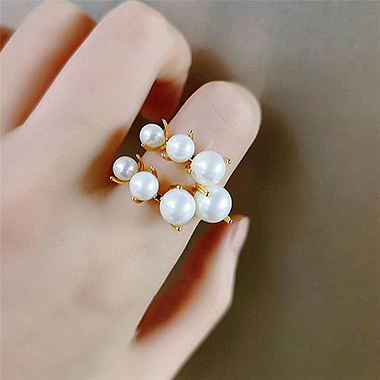 White Half Circle Pearl Ring for Women