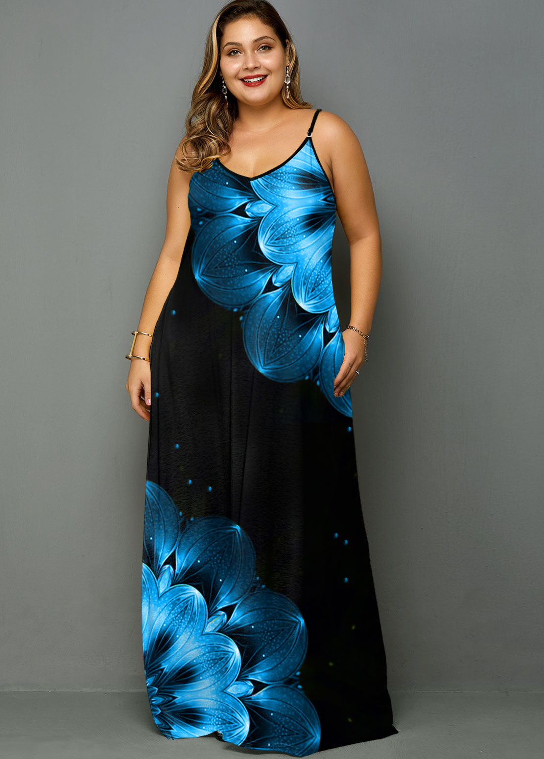 ROTITA Plus Size Spaghetti Strap Printed Maxi Dress
