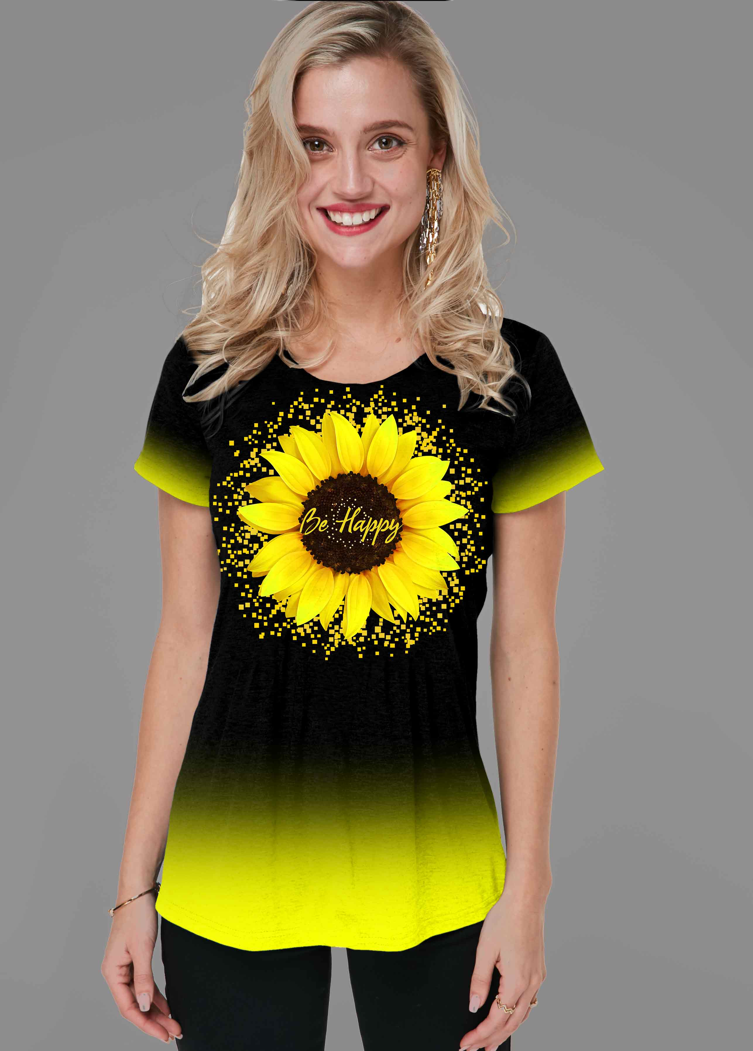 ROTITA Sunflower Print Short Sleeve Gradient T Shirt
