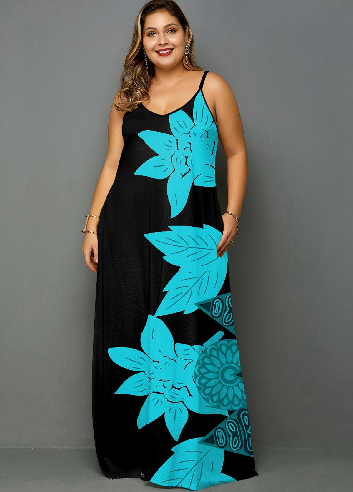 ROTITA Plus Size Spaghetti Strap Printed Maxi Dress