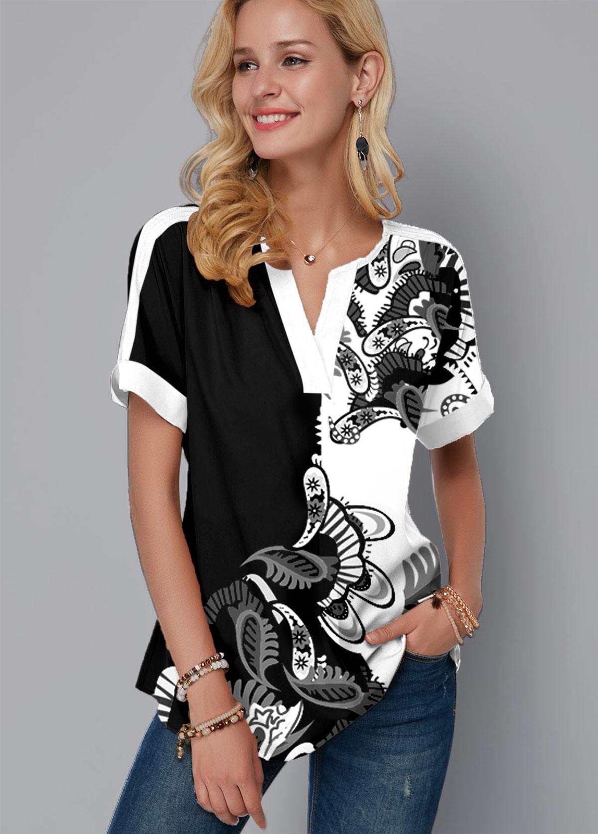ROTITA Paisley Print Short Sleeve Split Neck Blouse