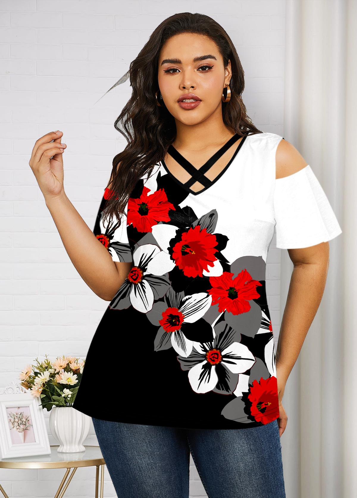 ROTITA Plus Size Floral Print Cold Shoulder T Shirt