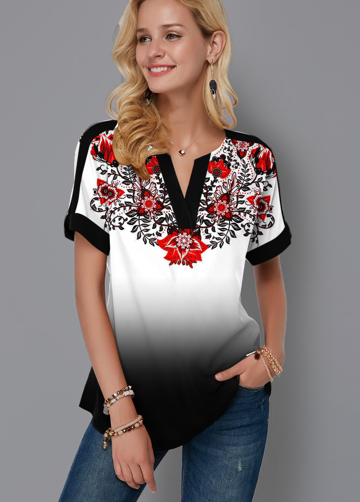 ROTITA Tribal Print Split Neck Gradient Blouse