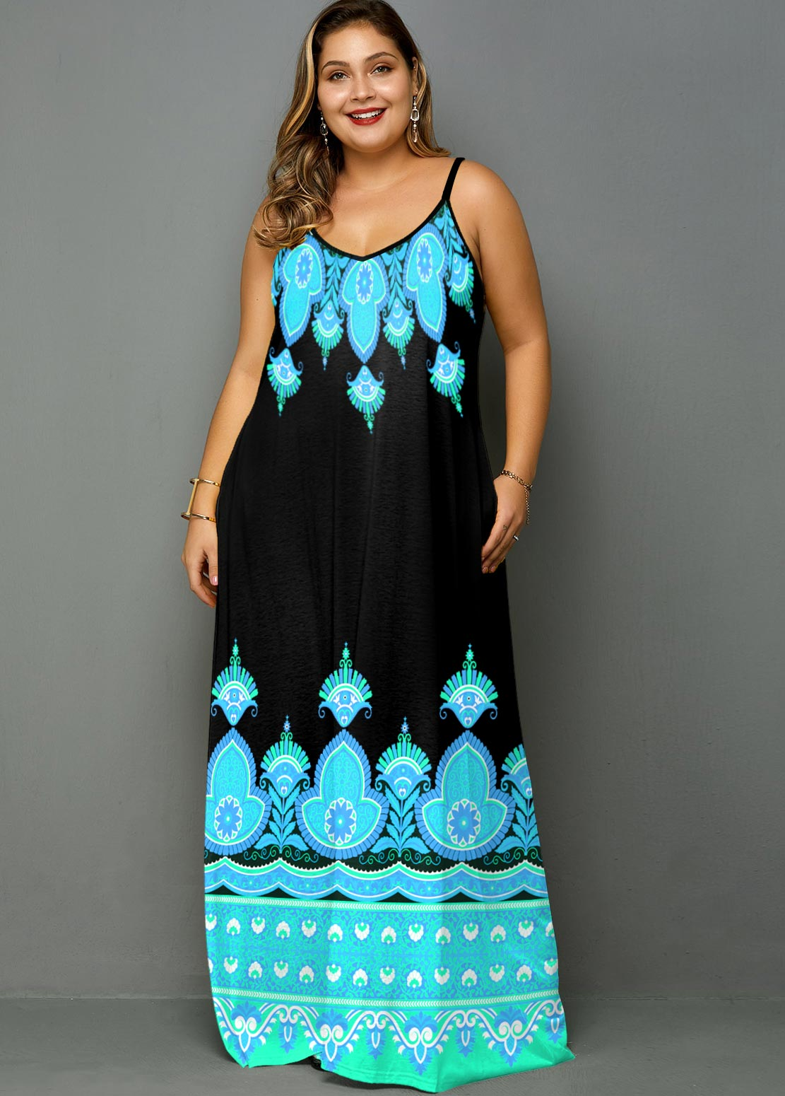 ROTITA Plus Size Tribal Print Spaghetti Strap Maxi Dress