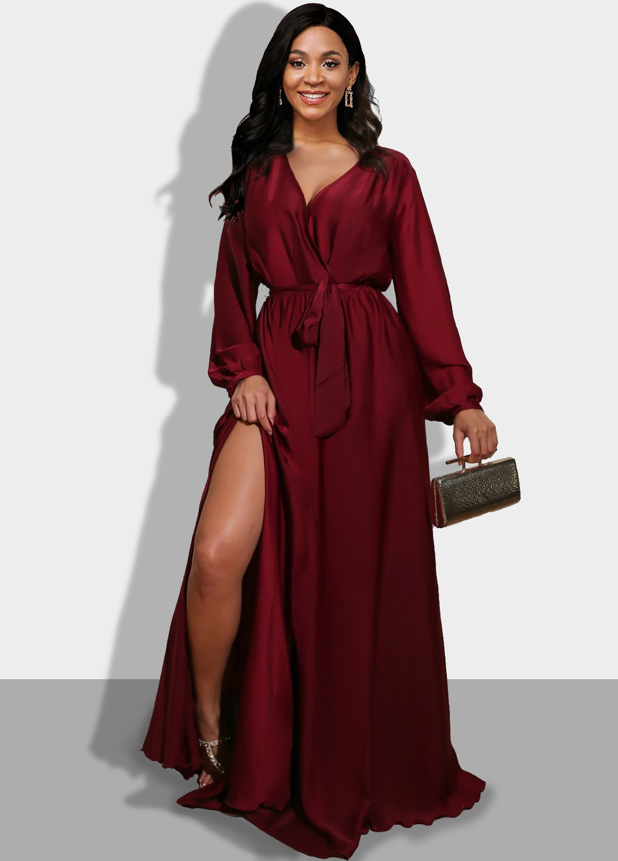 ROTITA Side Slit Wine Red Long Sleeve Maxi Dress
