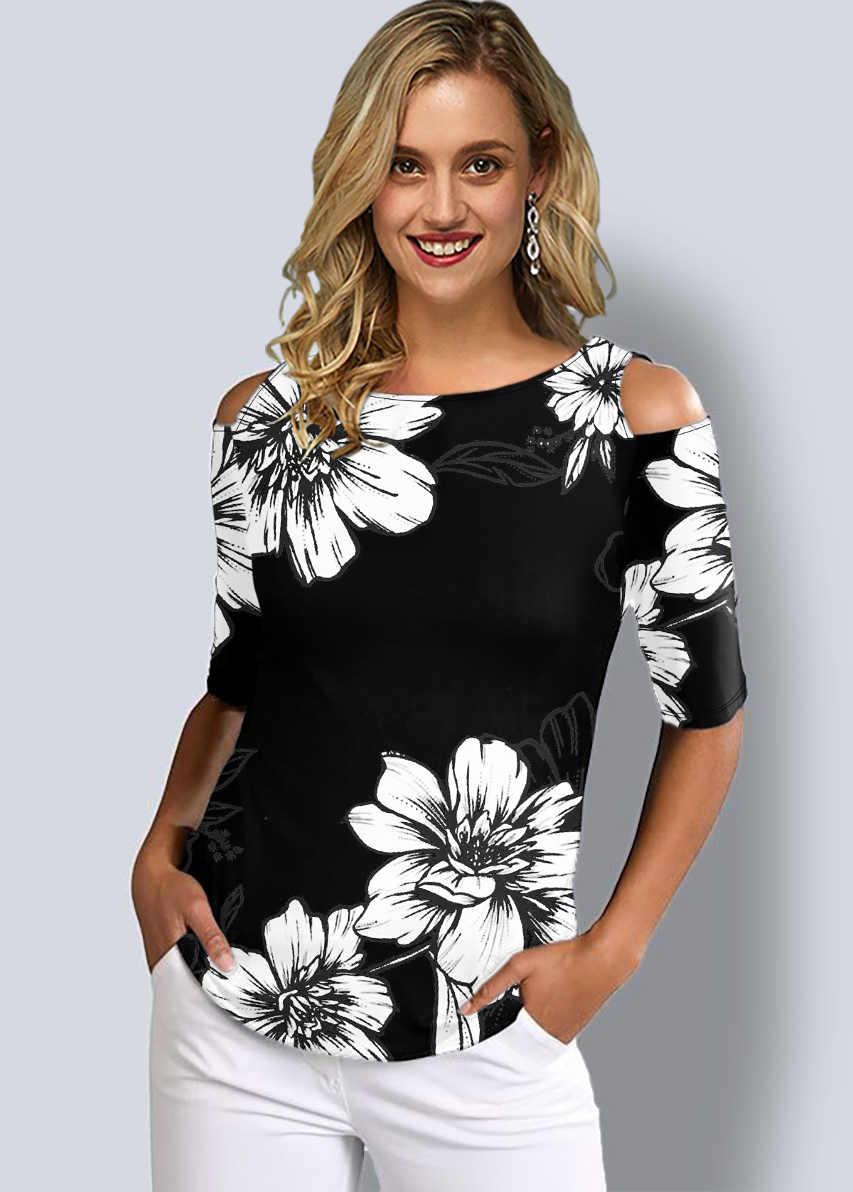 ROTITA Cold Shoulder Floral Print Half Sleeve T Shirt