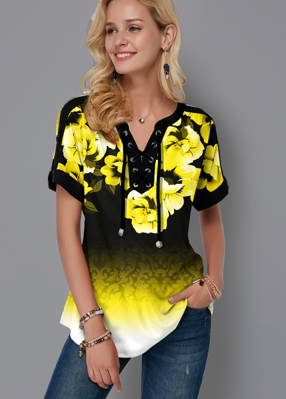 ROTITA Lace Up Floral Print Gradient Blouse