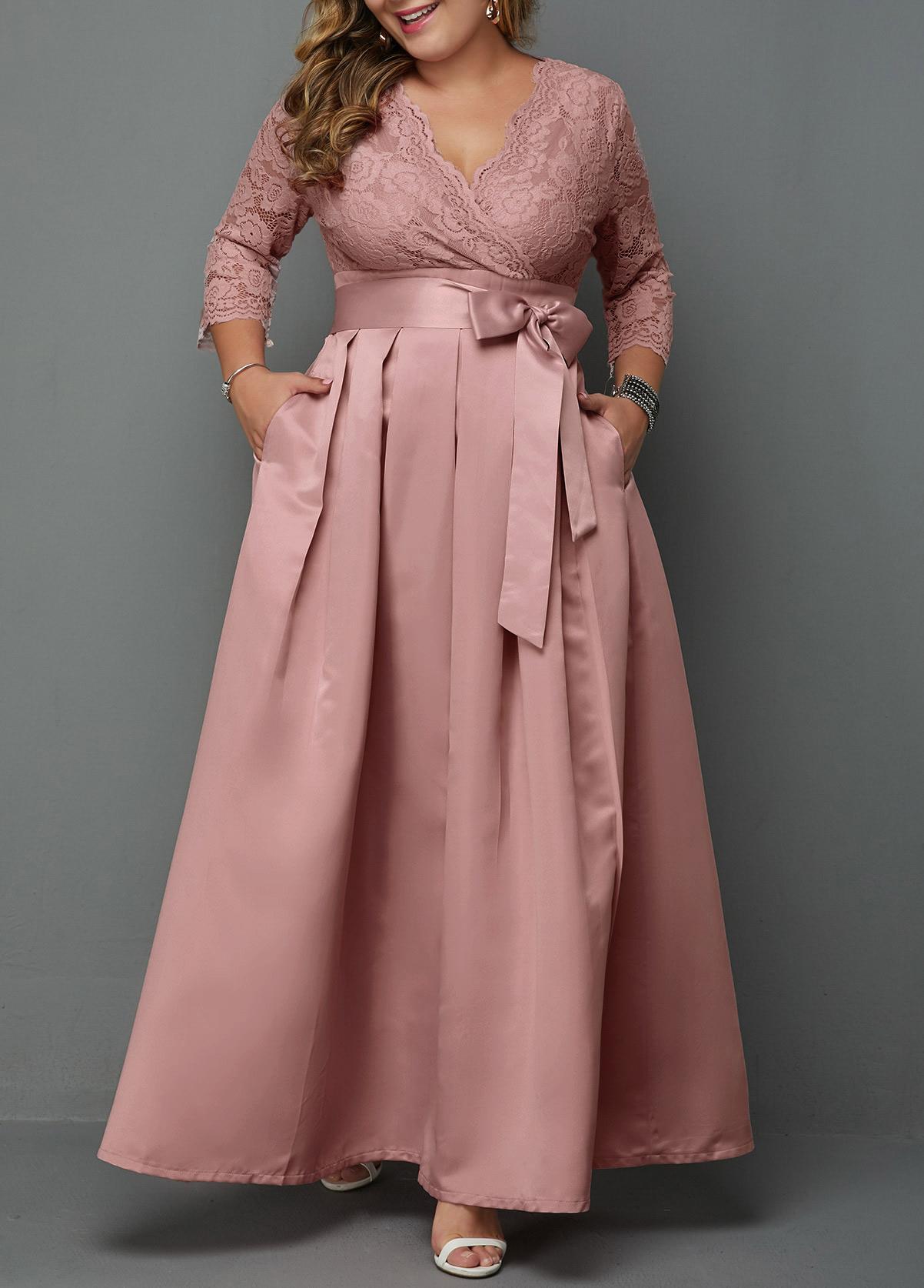 ROTITA Plus Size Belted Lace Panel Maxi Dress