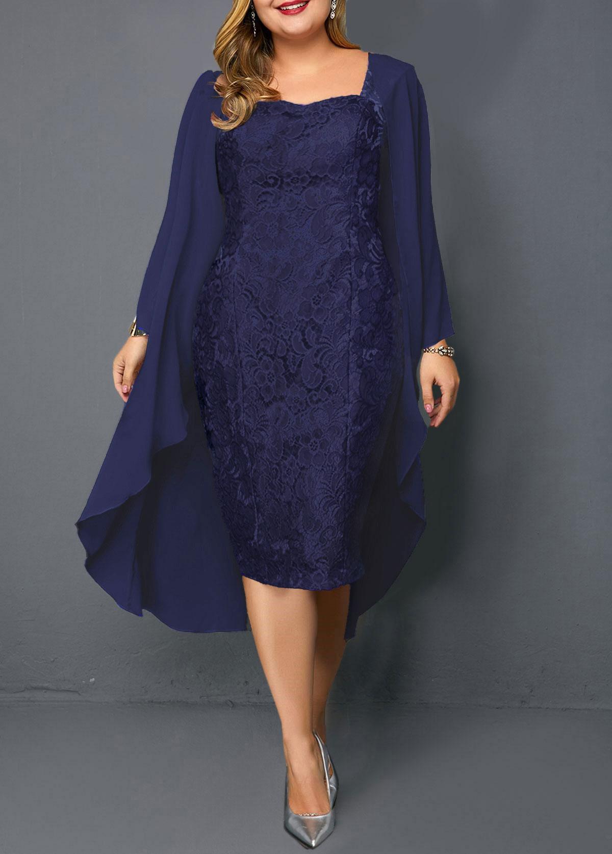 ROTITA Plus Size Chiffon Cardigan and Sheath Dress