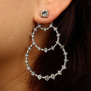 Silver Metal Rhinestone Embellished Circle Shape Earring