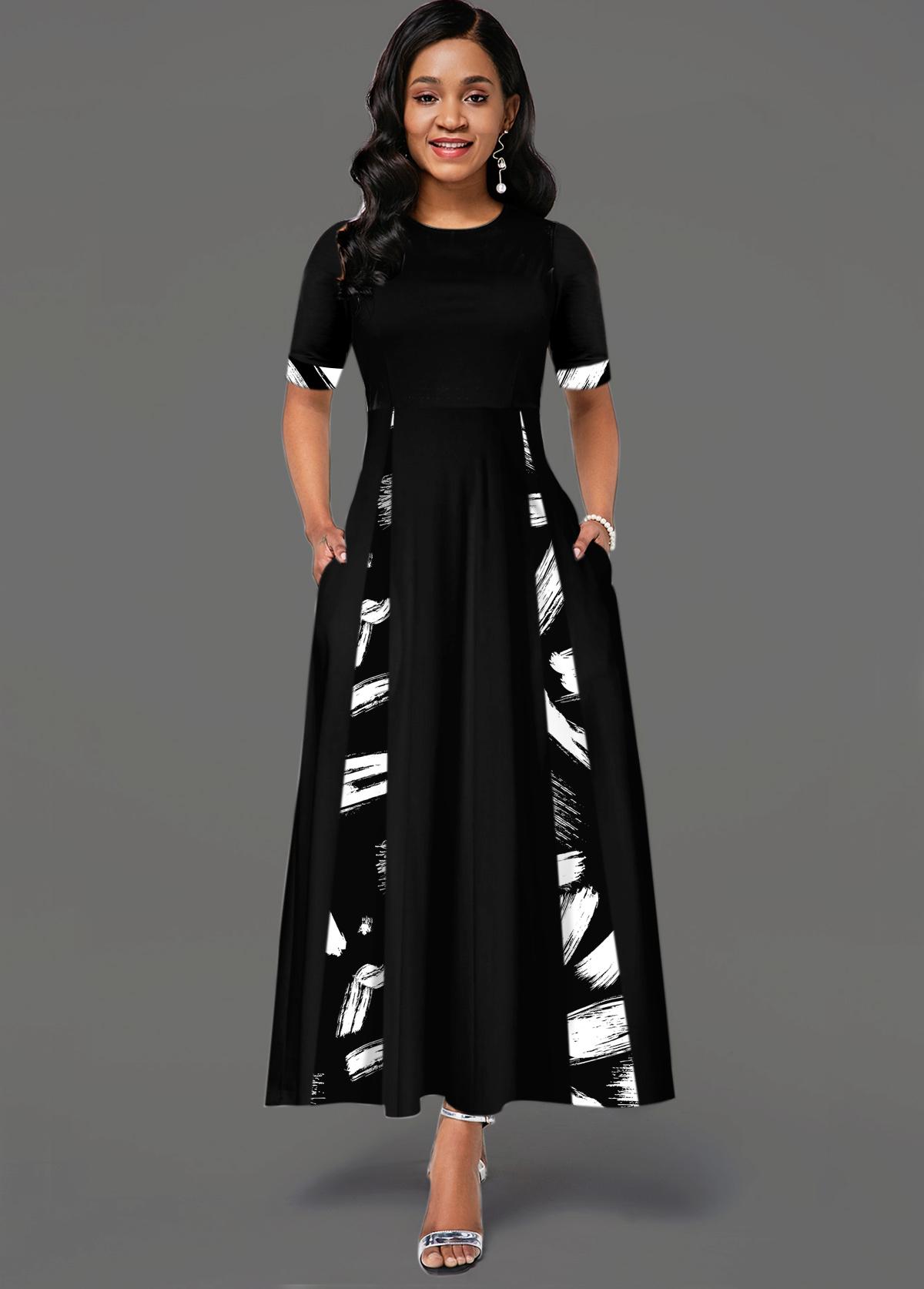 ROTITA Printed Short Sleeve Round Neck Pocket Dress