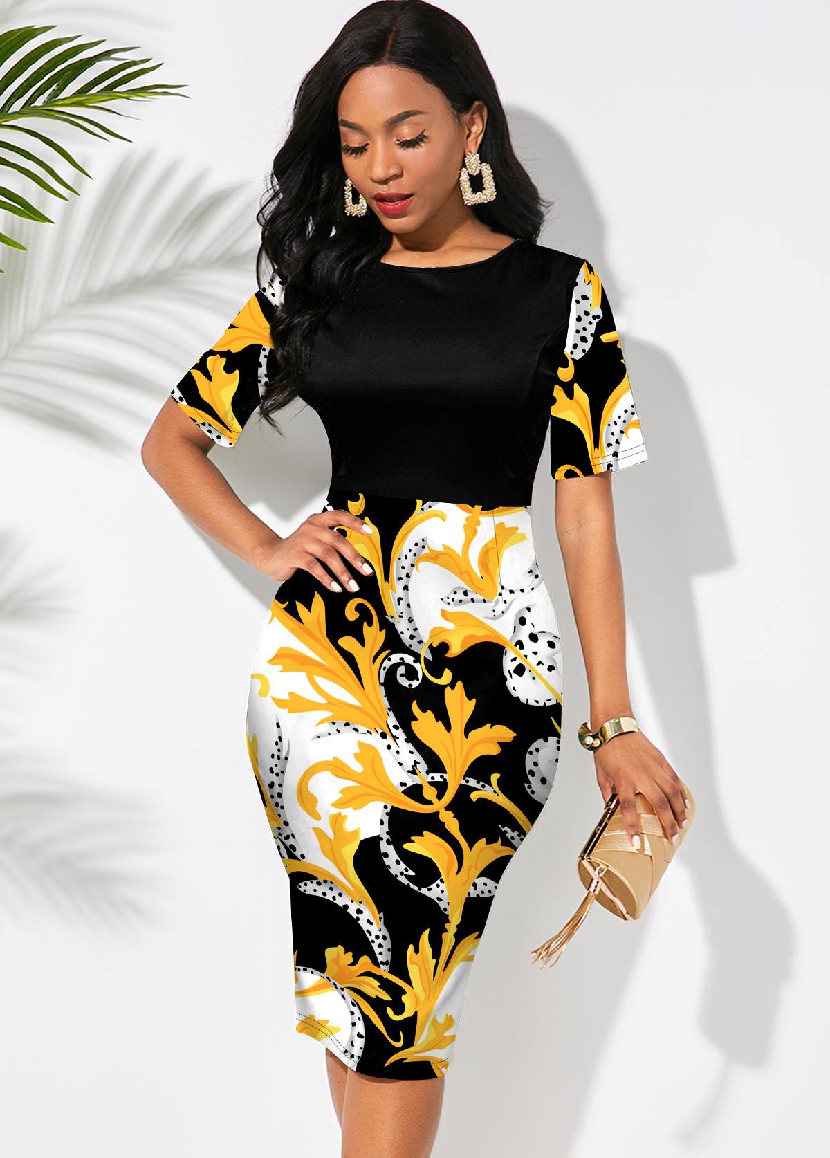 ROTITA Floral Print Short Sleeve Round Neck Dress