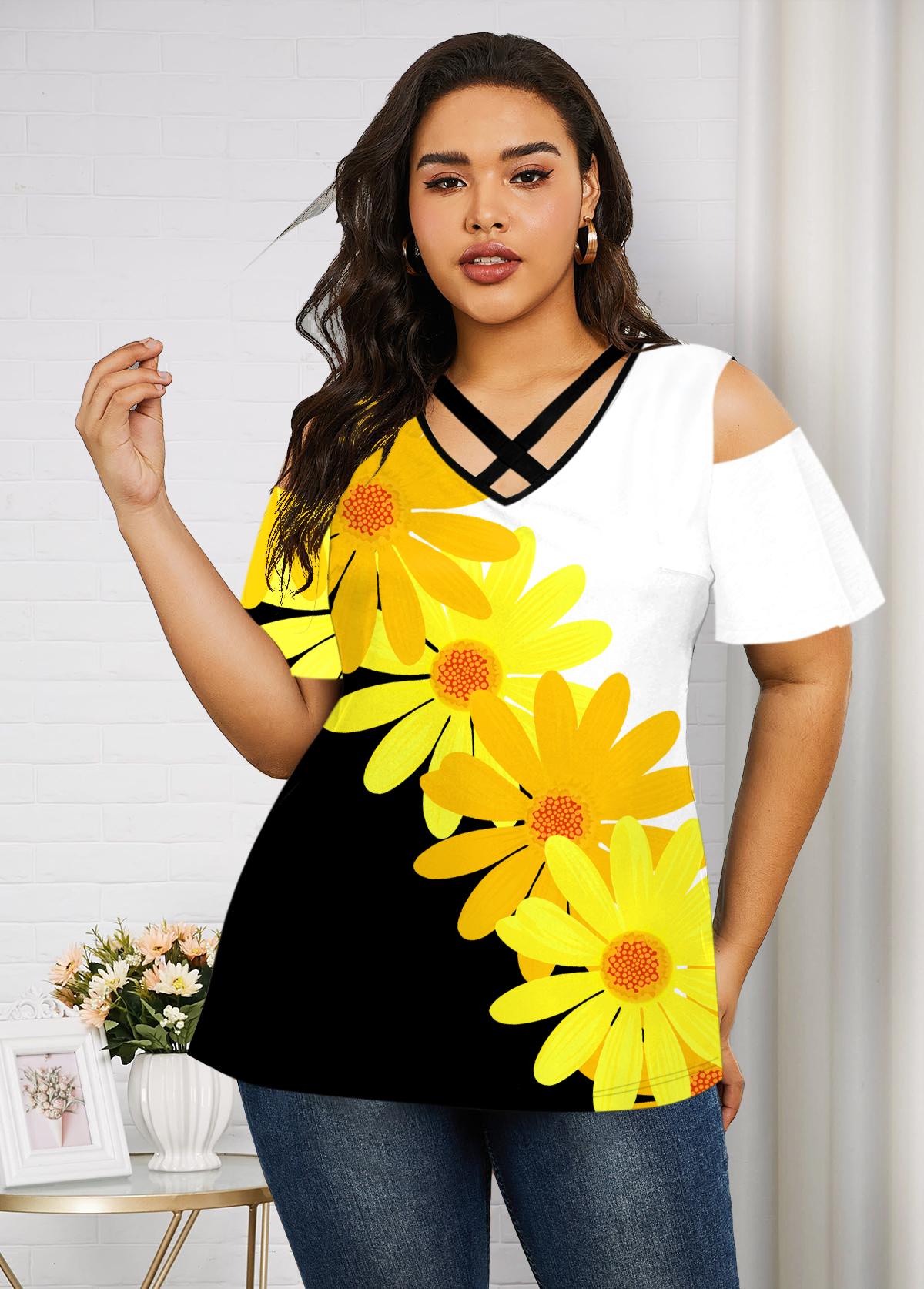 ROTITA Plus Size Cold Shoulder Daisy Print T Shirt