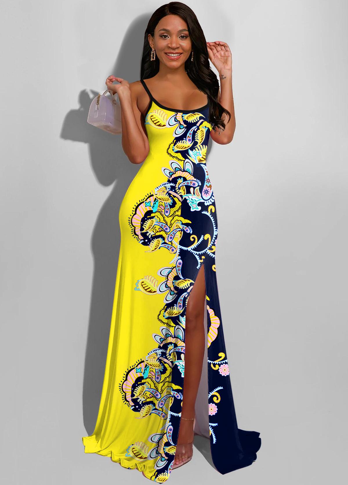 ROTITA Color Block Side Slit Paisley Print Maxi Dress