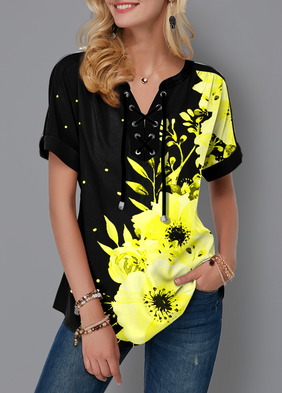 ROTITA Lace Up Floral Print Short Sleeve Blouse