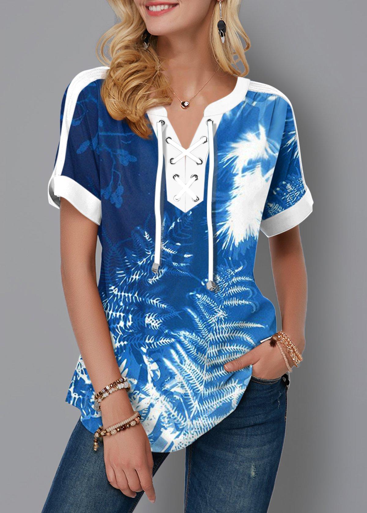 ROTITA Tropical Print Tie Dye Lace Up Blouse