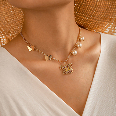 Pearl Detail Butterfly Pendant Gold Metal Necklace