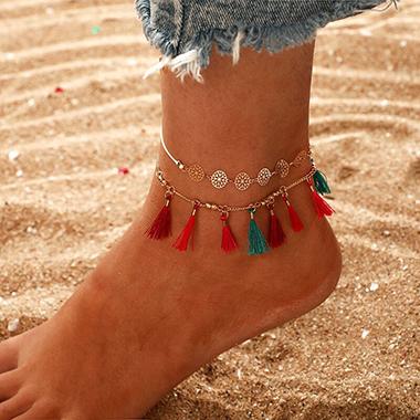 Tassel Hem Gold Metal Beads Anklet Set