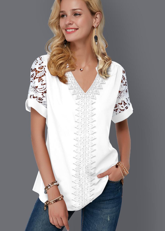 ROTITA Split Neck Lace Panel Short Sleeve Blouse