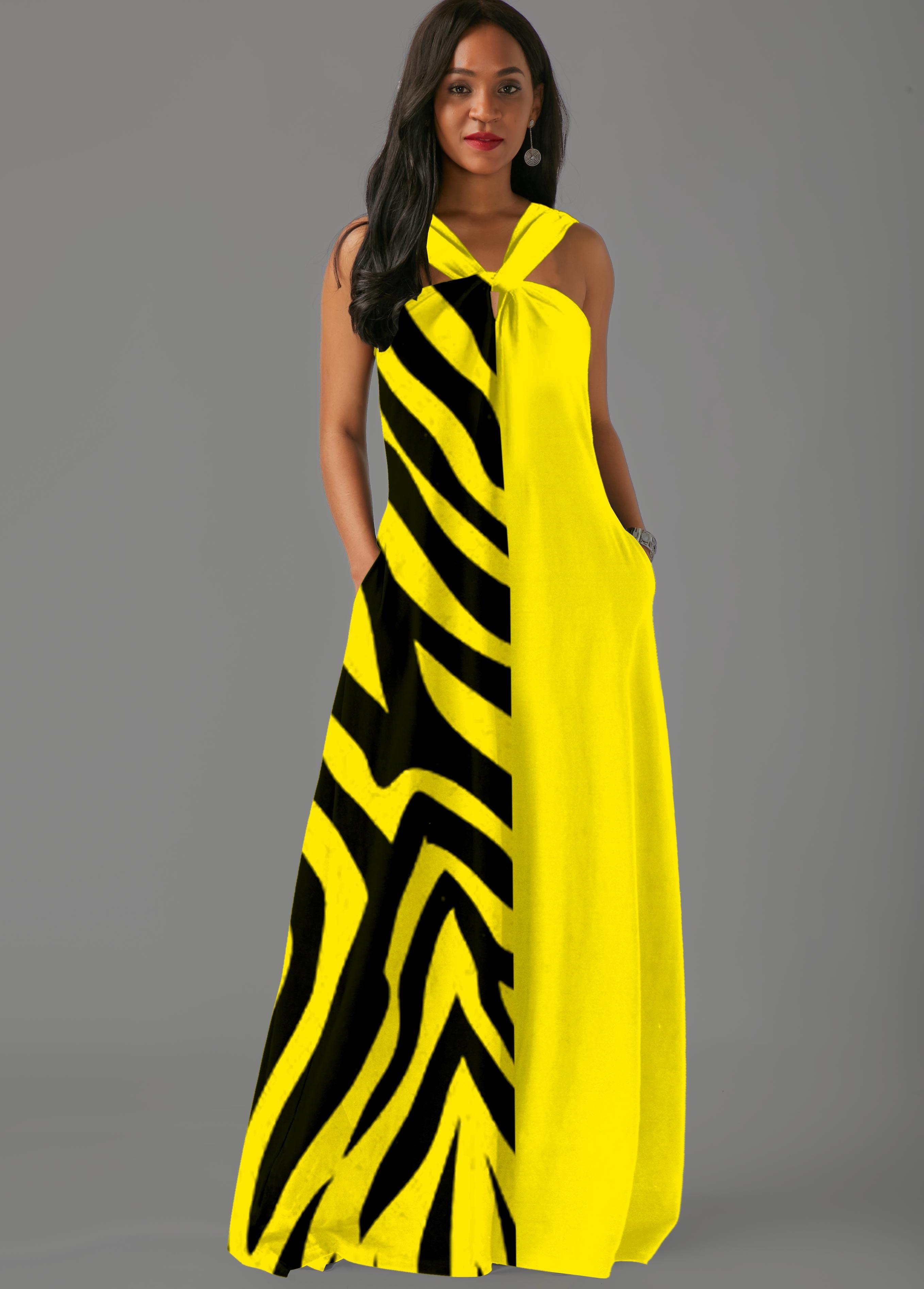 ROTITA Side Pocket Zebra Print Contrast Maxi Dress