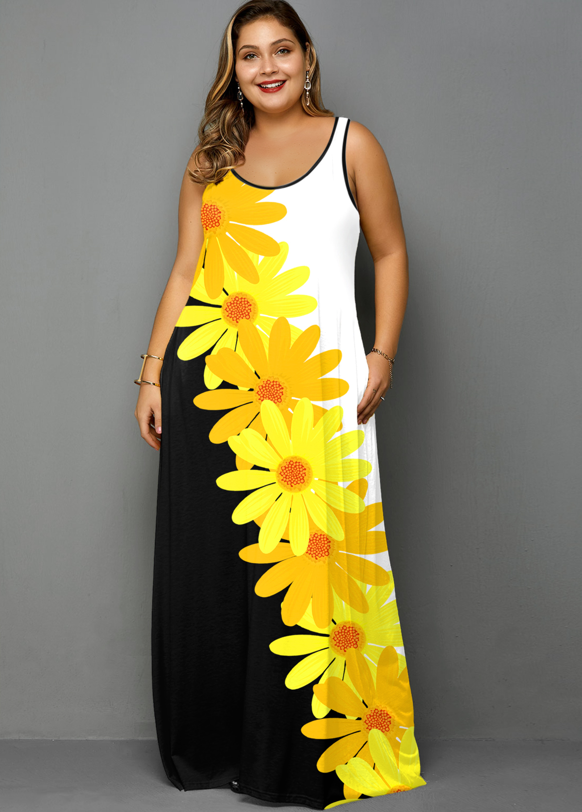 ROTITA Plus Size Spaghetti Strap Daisy Print Pocket Dress