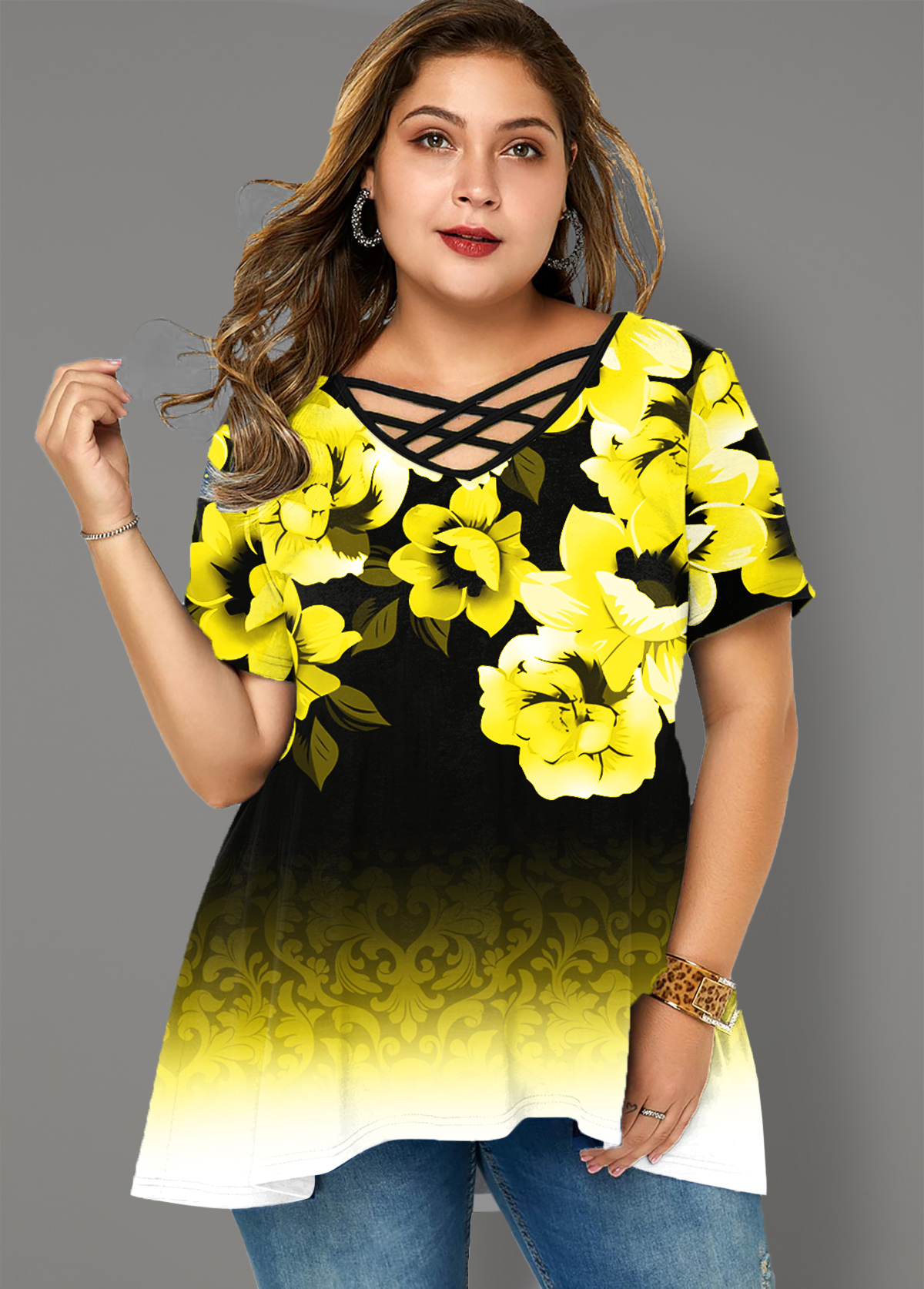 ROTITA Plus Size Cross Strap Ombre Floral Print T Shirt