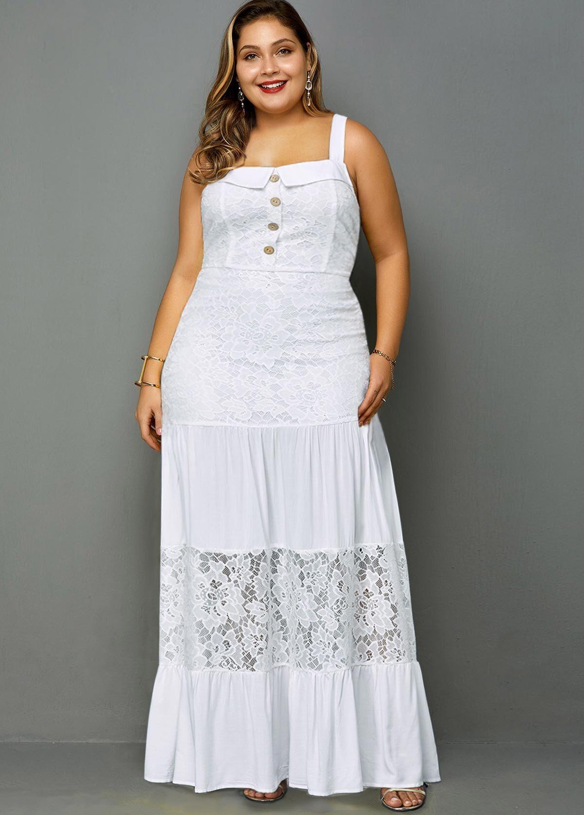 ROTITA Plus Size Spaghetti Strap Lace Panel Maxi Dress
