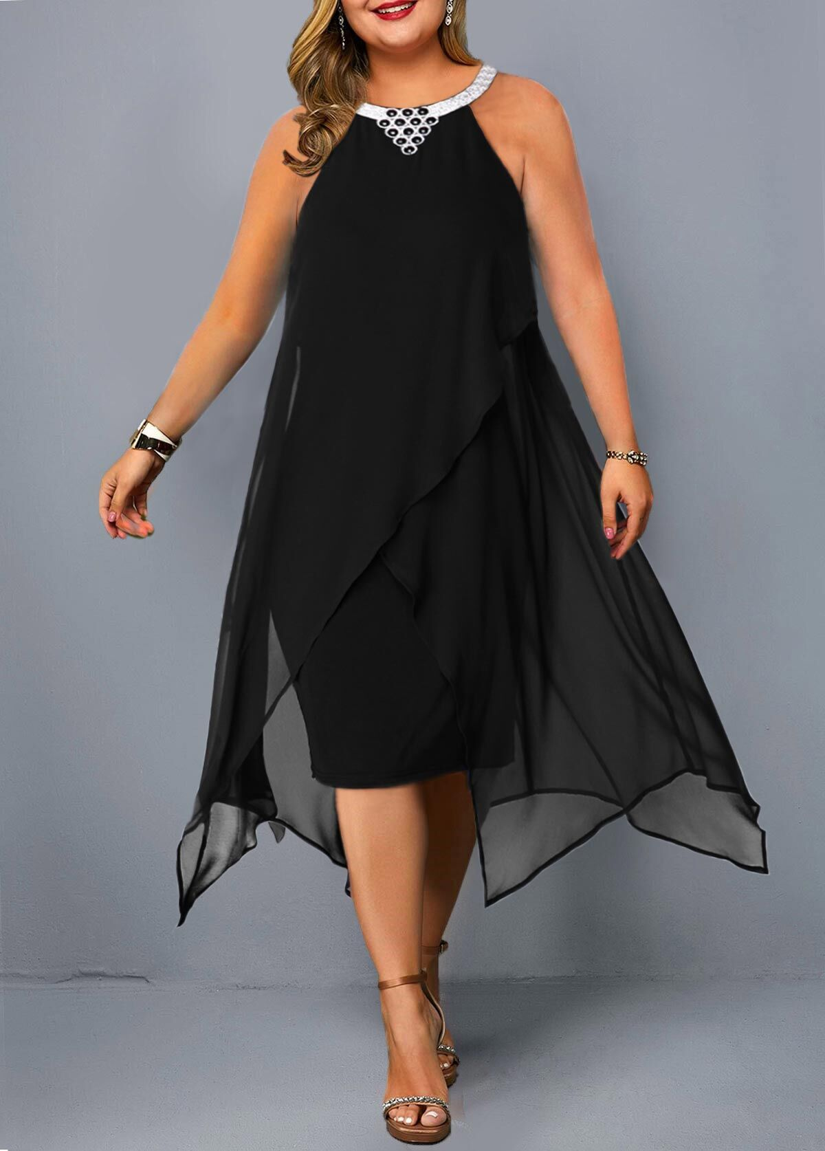 ROTITA Plus Size Embellished Neck Asymmetric Hem Chiffon Dress