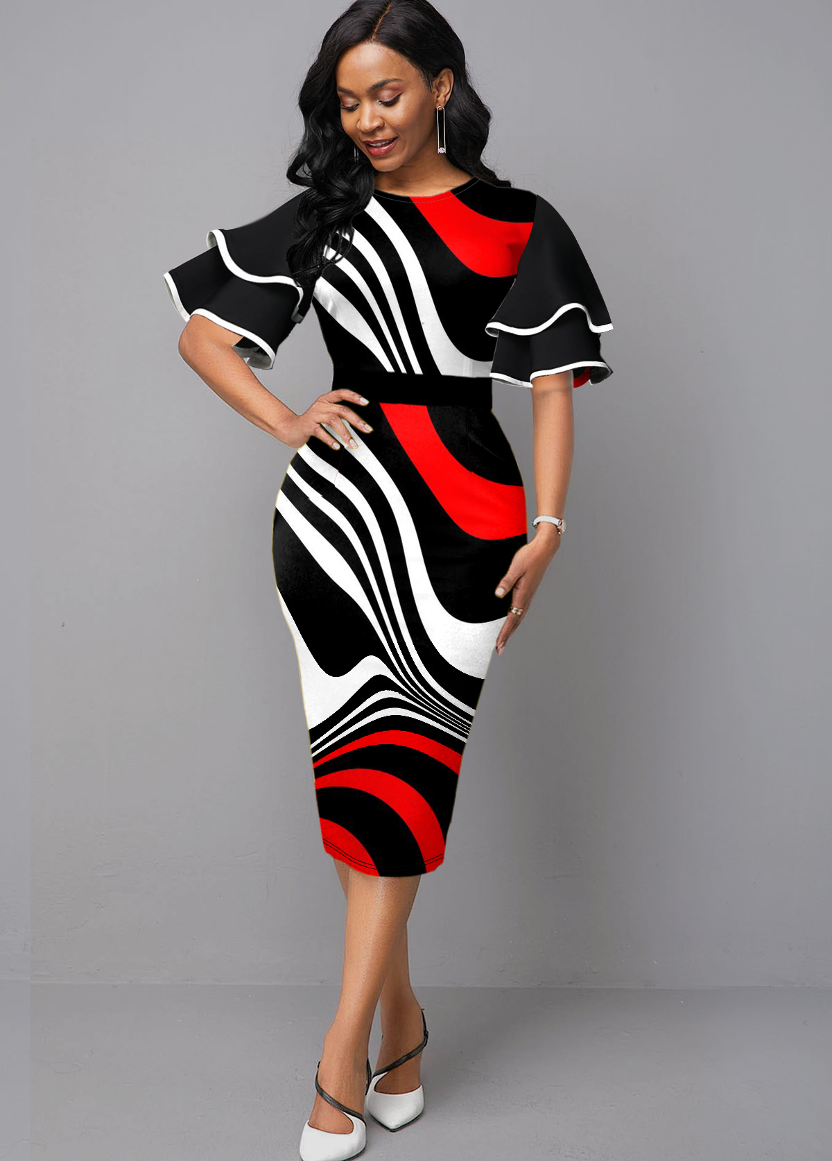 ROTITA Ruffle Sleeve Contrast Stripe Print Sheath Dress