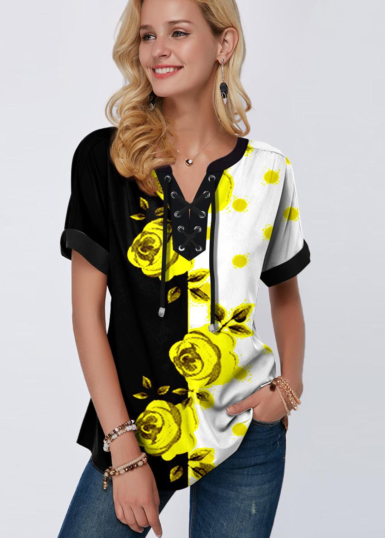ROTITA Floral Print Color Block Lace Up Blouse