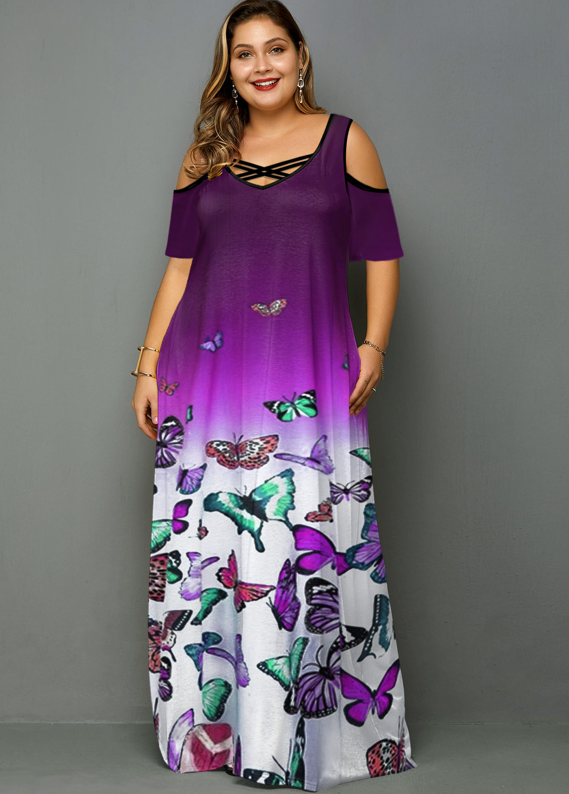 ROTITA Plus Size Cold Shoulder Butterfly Print Ombre Dress
