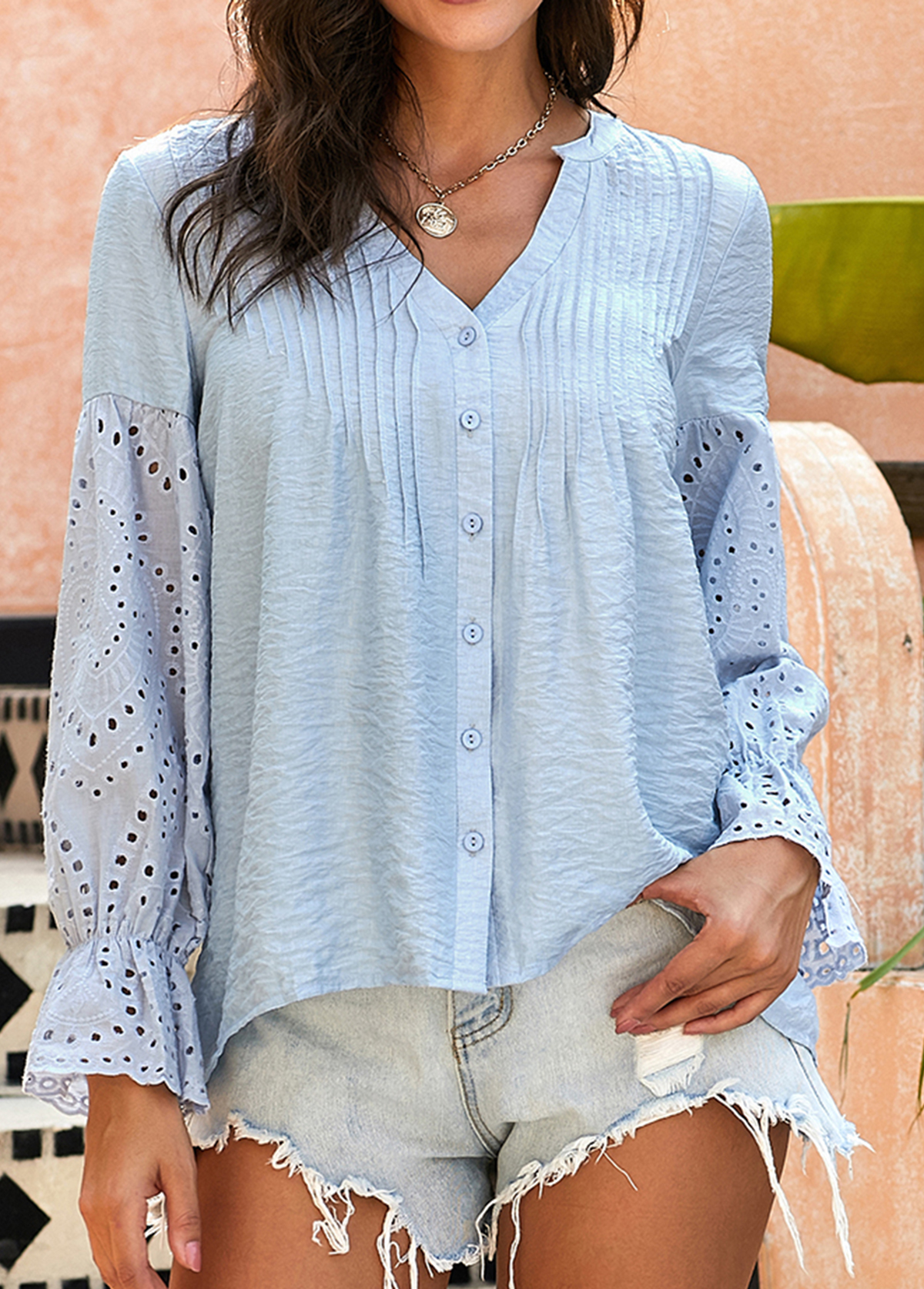 Button Up Crinkle Chest Flare Cuff Blouse