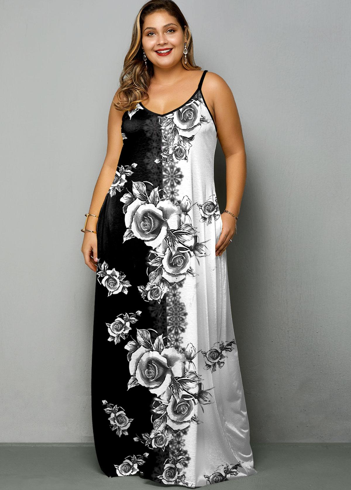 ROTITA Plus Size SpaghettiTie Dye Print Strap Dress
