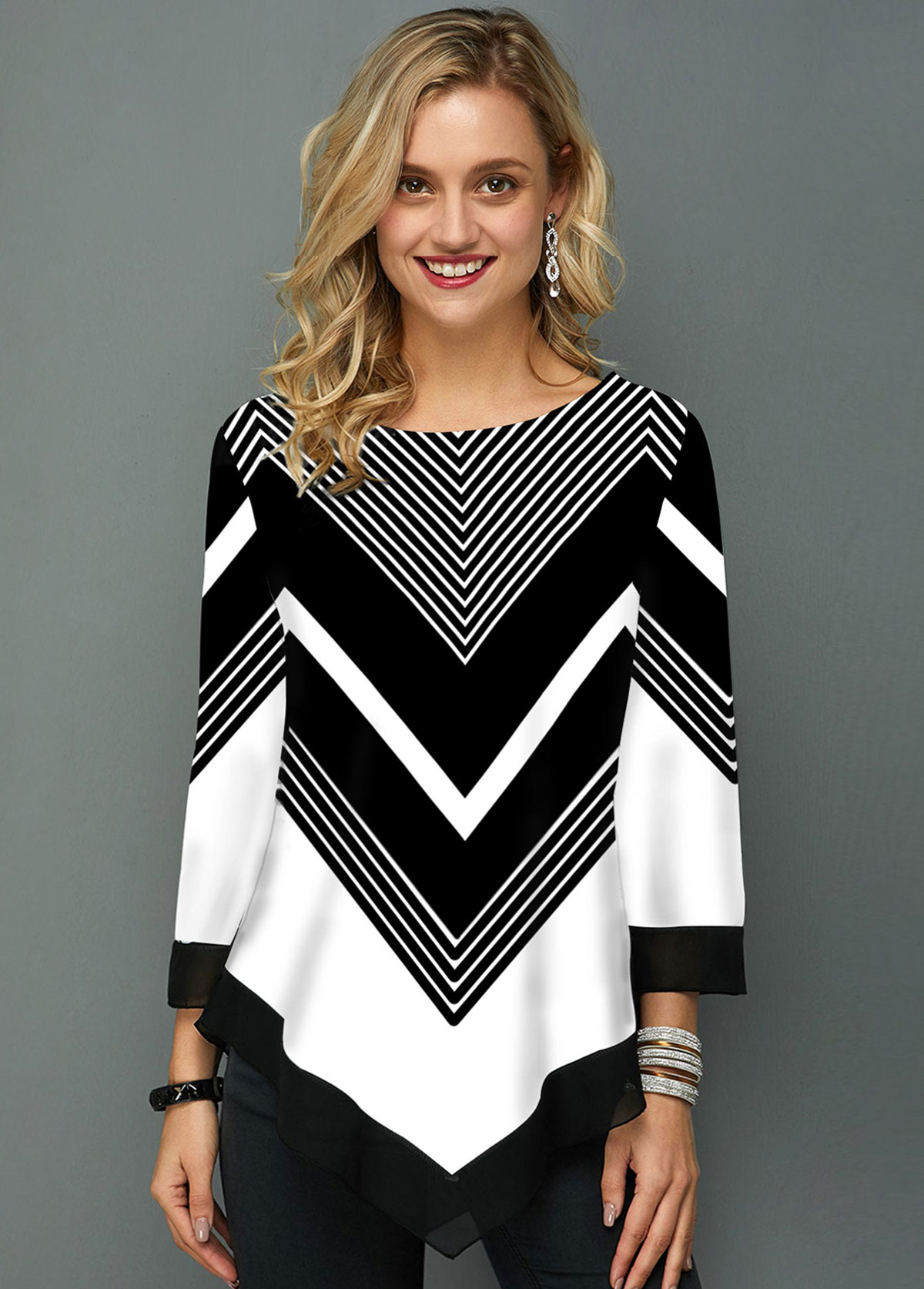 ROTITA Chevron Print Asymmetric Hem Three Quarter Sleeve T Shirt