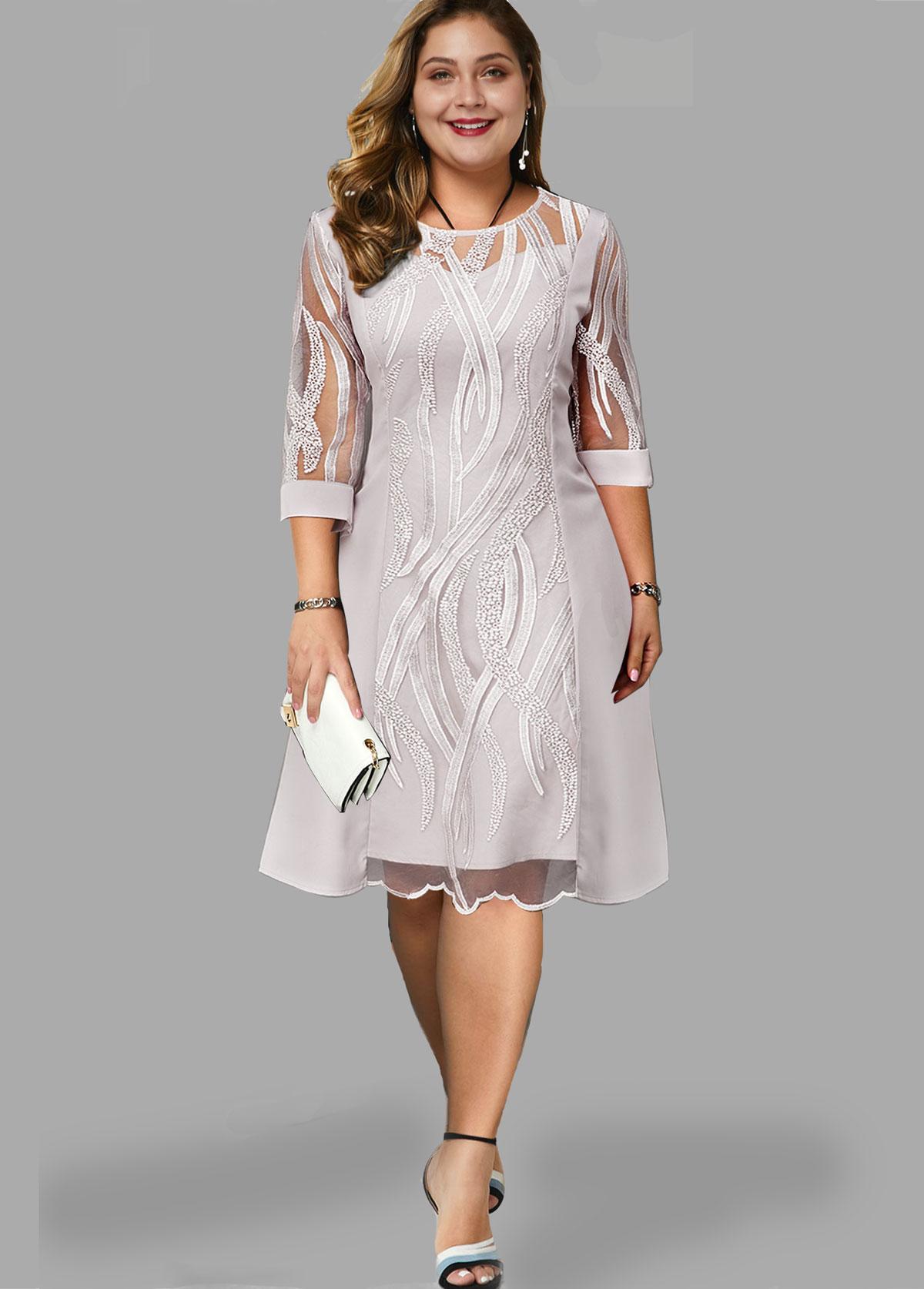 ROTITA Plus Size Three Quarter Sleeve Round Neck Lace Dress
