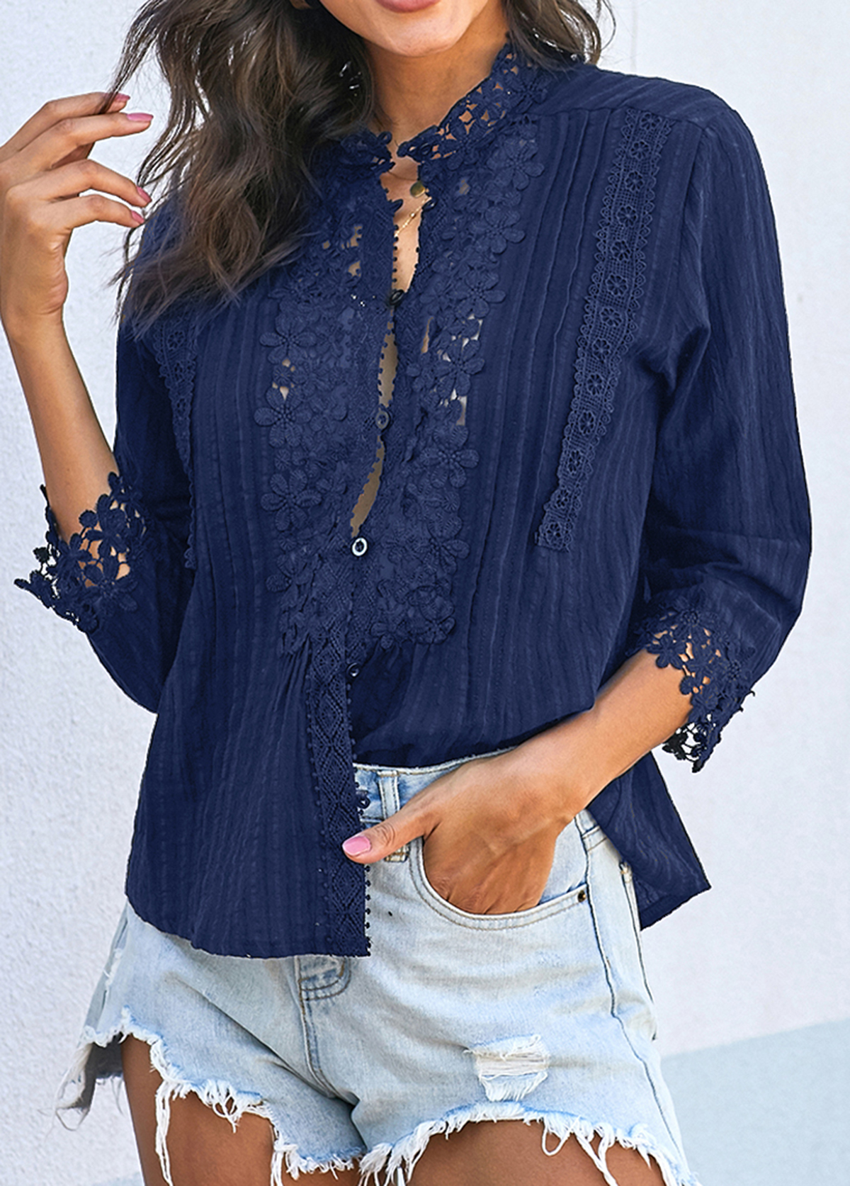 Crinkle Chest Lace Panel Button Up Blouse