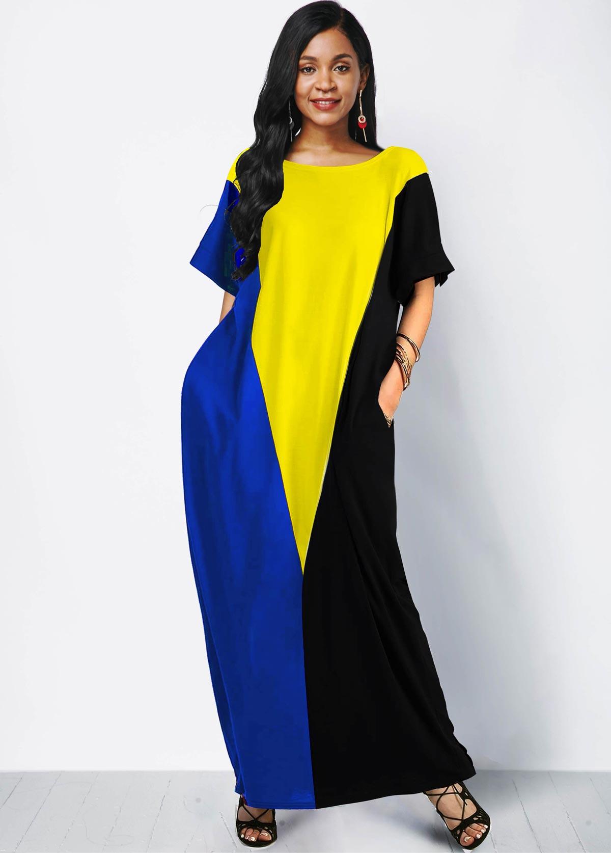 ROTITA Color Block Side Pocket Short Sleeve Maxi Dress